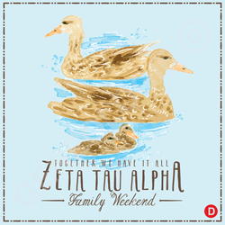 Zeta Tau Alpha Watercolor Ducks