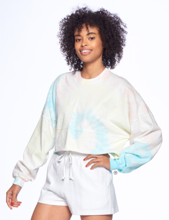 Spirit Jersey Rainbow Spiral Raw Hem Cropped