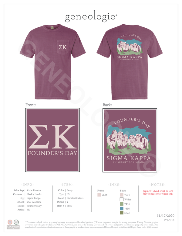 Sigma Kappa Founder's Day - Berry $24.50