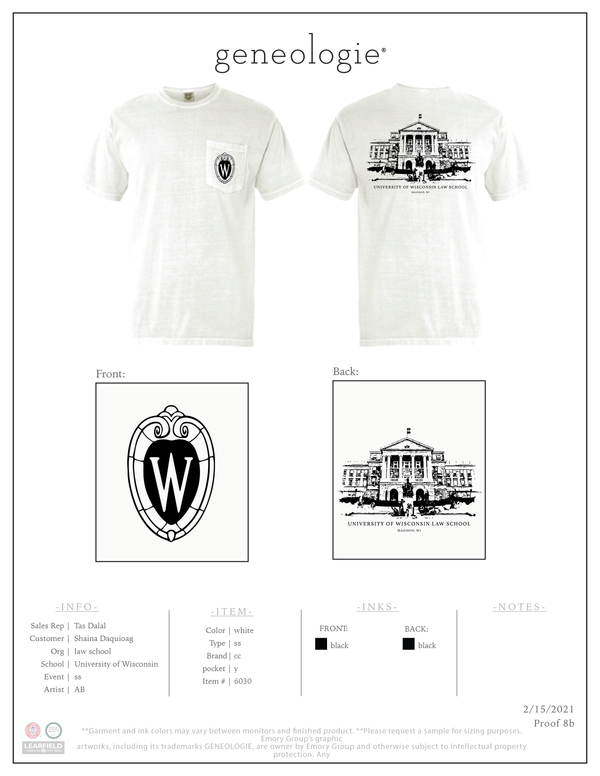 Wisconsin Law Shirt - White $24.00