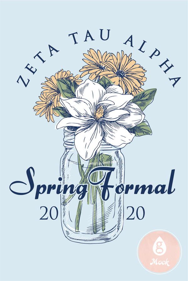 Zeta Tau Alpha Formal Spring Flower Mason Jar