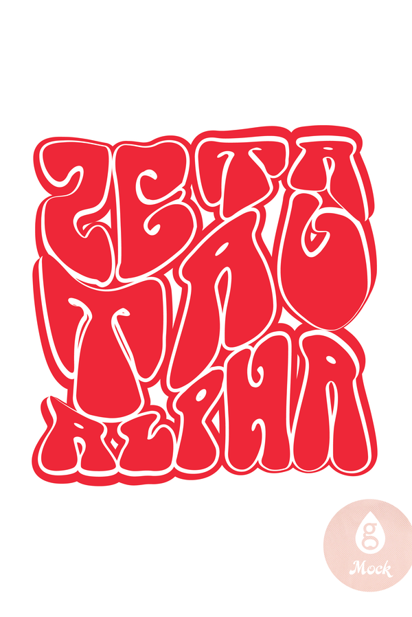 Zeta Tau Alpha Red Groovy Block Letters