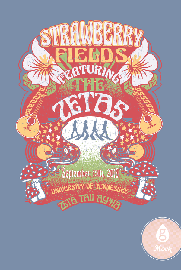 Zeta Tau Alpha Psychedelic Strawberry Fields