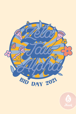 Zeta Tau Alpha Retro Sun and Flowers