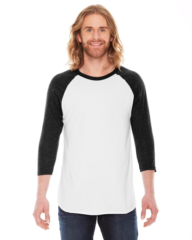 American Apparel bb453w Unisex Poly-Cotton 3/4-Sleeve Raglan T-Shirt