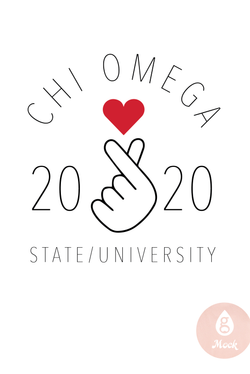Chi Omega Simple Heart Type