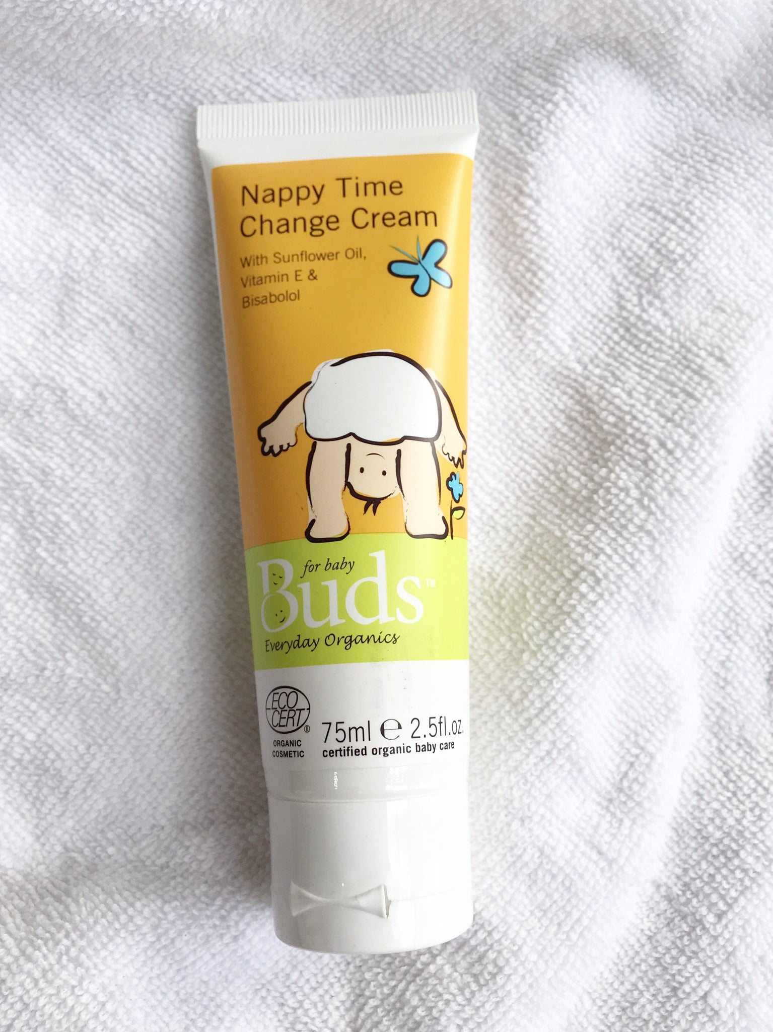 Buds Everyday Organics Nappy Time Change Cream 75ml - certified organic by ECOCERT