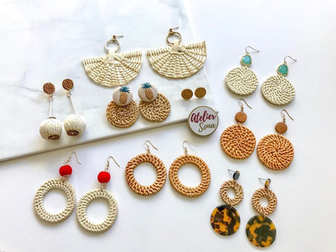 straw earrings, straw bags, rattan earrings, rattan bags, weave earrings, wicker earrings