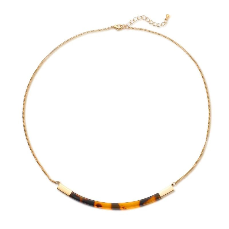 Acrylic Bar Necklace - Tortoise Shell