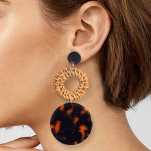 Tortoise Shell Rattan Earrings