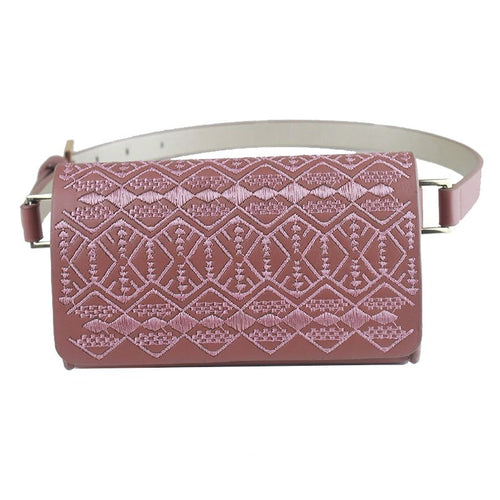 Mauve Embroidered Belt Bag
