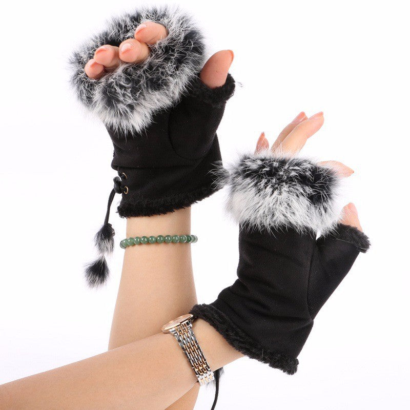 Fingerless Faux Fur Gloves - Black