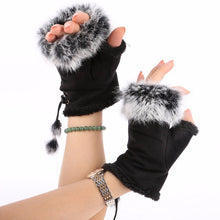 Fingerless Faux Fur Gloves - Blue