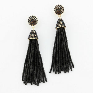 """NYC Dreams"" Beaded Tassel Earrings - Black"