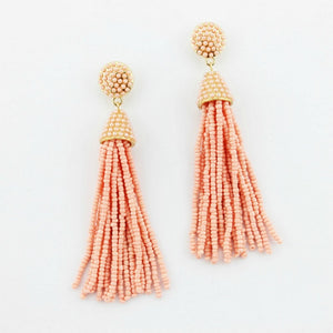 """NYC Dreams"" Beaded Tassel Earrings - Blush"