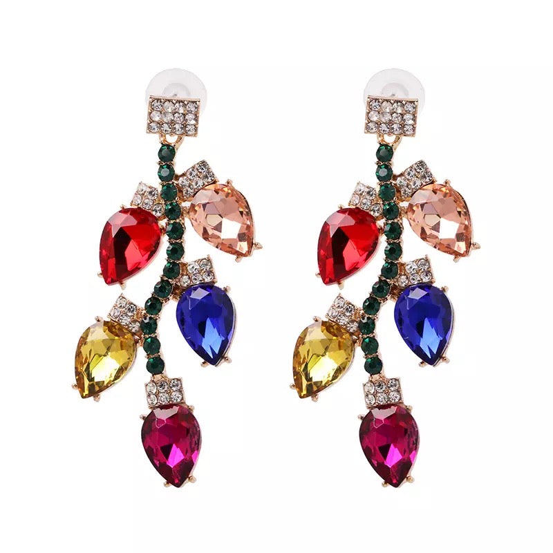 Christmas Lights Pave Earrings