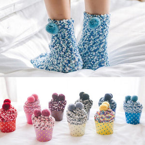 Cupcake Pom Pom Fuzzy Socks - Light Blue