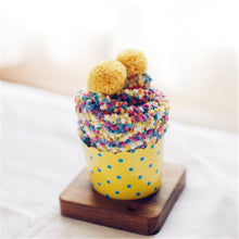 Cupcake Pom Pom Fuzzy Socks - Yellow