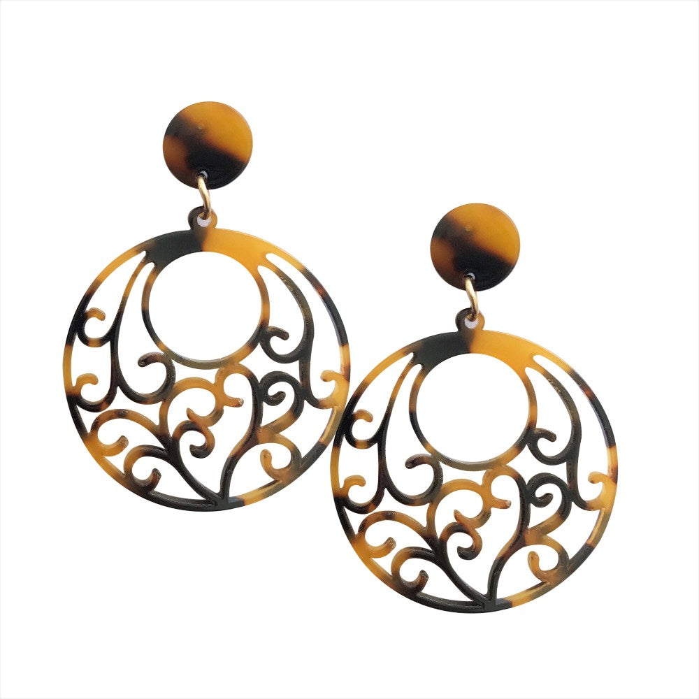 Acrylic Filigree Earrings - Tortoise Shell