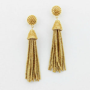 """NYC Dreams"" Beaded Tassel Earrings - Gold"