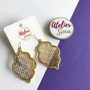 """Marrakesh Lantern"" Filigree Earrings - Gold"