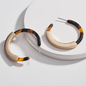Capped Acrylic Hoop Earrings - Tortoise Shell