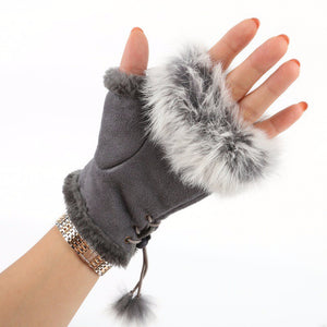 Fingerless Faux Fur Gloves - Gray