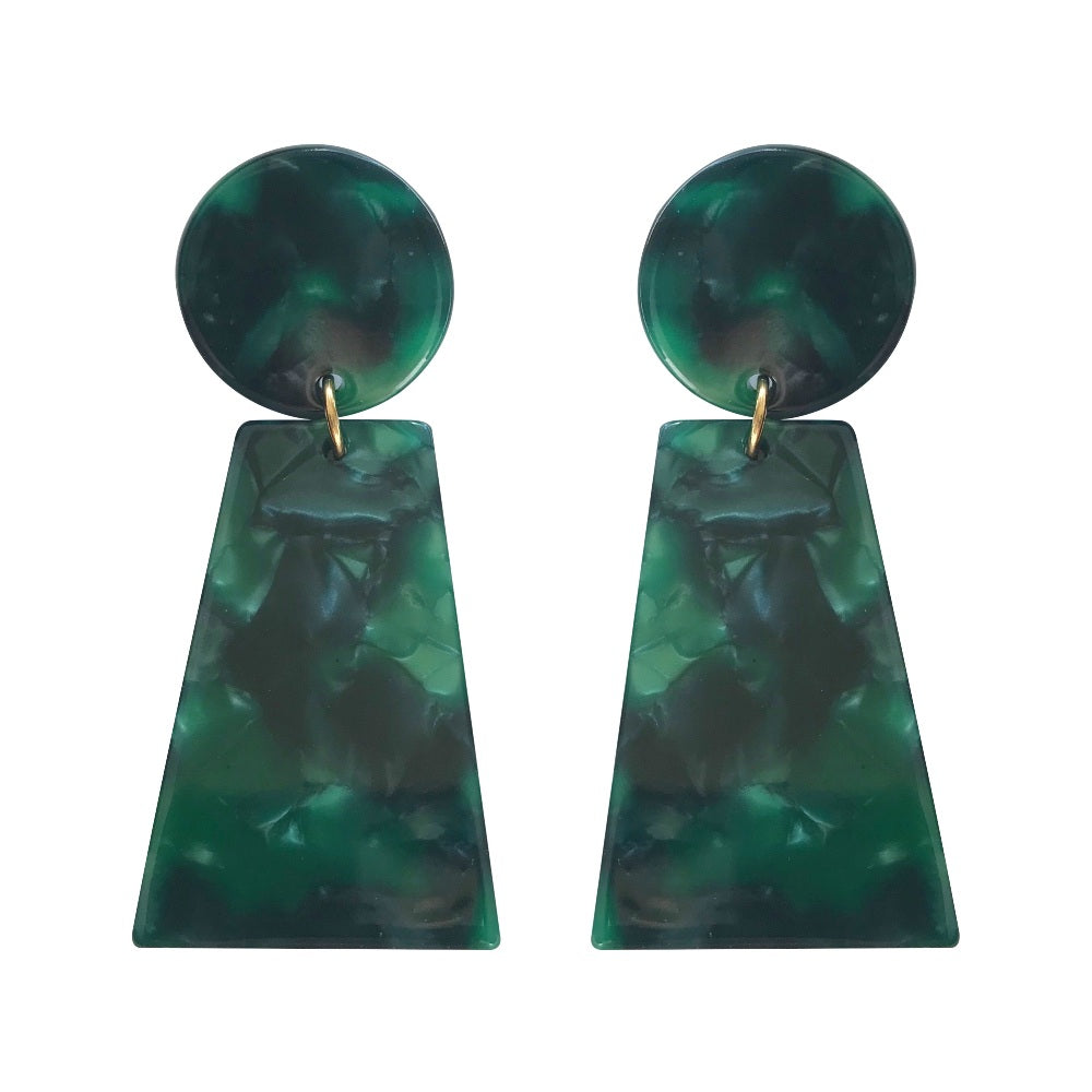 Acrylic Fan Drop Earrings - Green