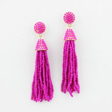"""NYC Dreams"" Beaded Tassel Earrings - Pink"