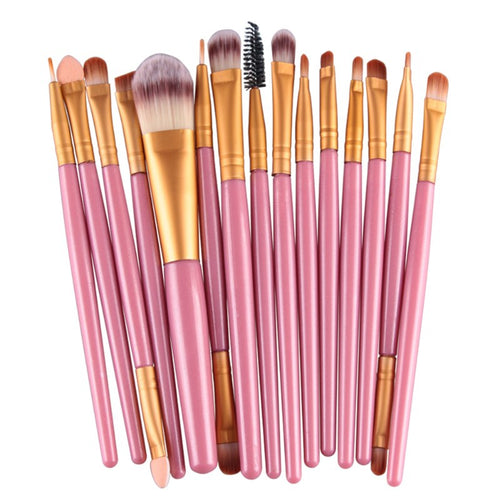 15 Piece Make Up Brush Set - Pink