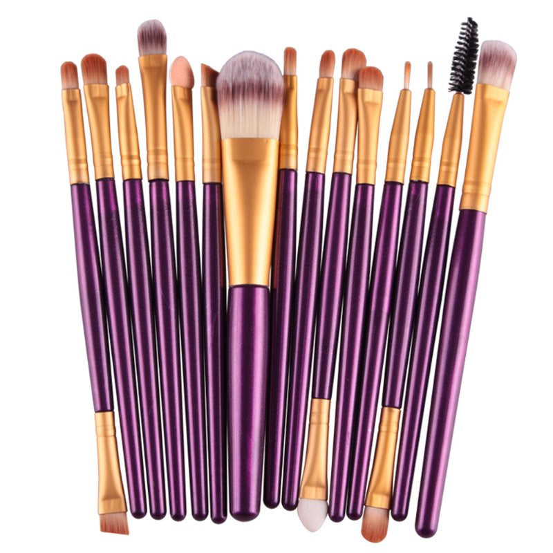 15 Piece Make Up Brush Set - Purple