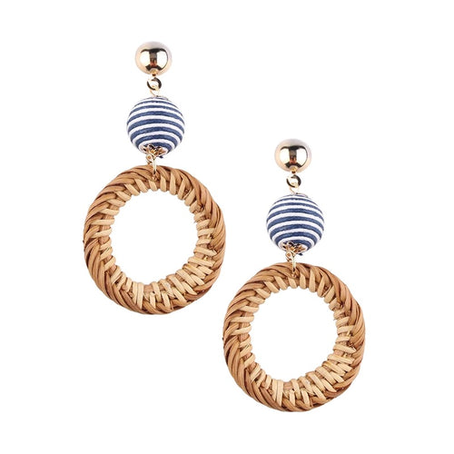 rattan earrings, bon bon earrings, summer earrings, straw earrings