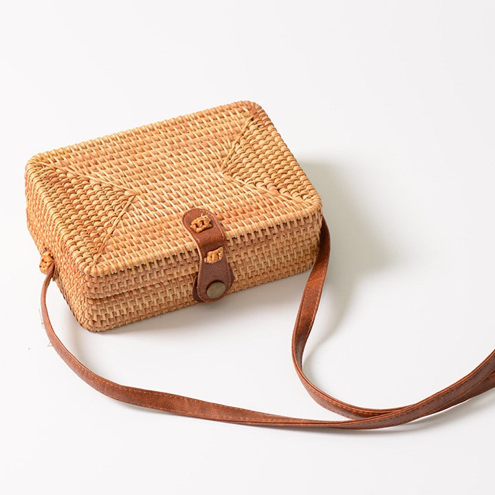 Rectangle Rattan Hand Woven Cross Body Bag