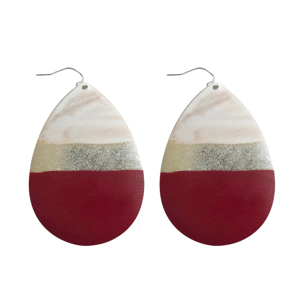 Painted Tear Drop Earrings - Red