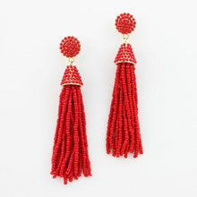 """NYC Dreams"" Beaded Tassel Earrings - Red"