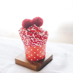 Cupcake Pom Pom Fuzzy Socks - Red