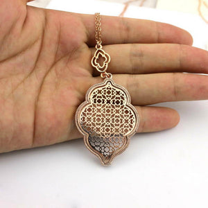 """Marrakesh Lantern"" Filigree Necklace - Rose Gold"