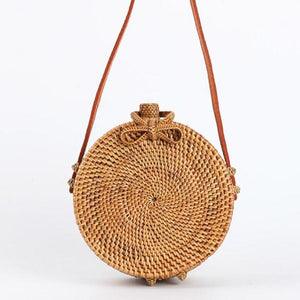 Round Rattan Hand Woven Cross Body Bag