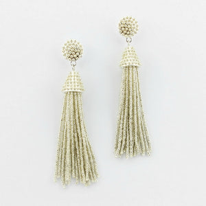 """NYC Dreams"" Beaded Tassel Earrings - Silver"