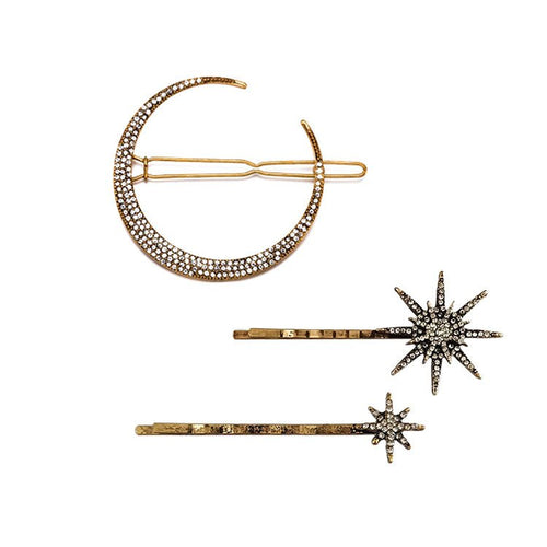 Stars and Moon Crystal Hair Clips - Set of 3