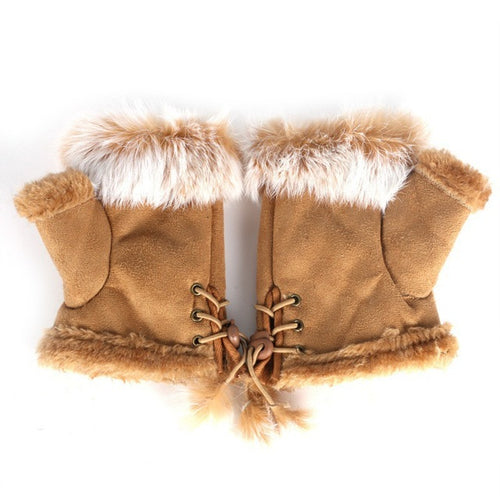 Fingerless Faux Fur Gloves - Tan