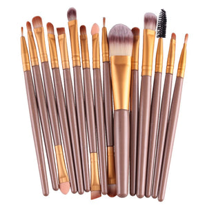 15 Piece Make Up Brush Set - Tan