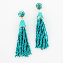 """NYC Dreams"" Beaded Tassel Earrings - Teal"