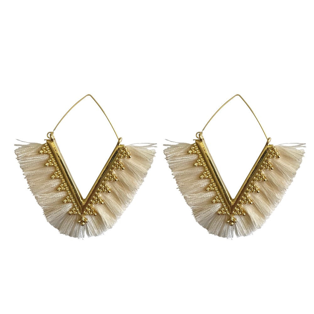 fringe earrings, tassel earrings, hoop earrings, trendy earrings