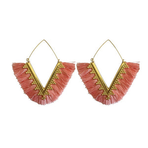 fringe earrings, tassel earrings, hoop earrings, trendy earrings, pink earrings