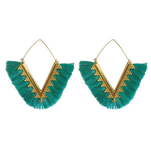 fringe earrings, tassel earrings, hoop earrings, trendy earrings, teal earrings, green earrings