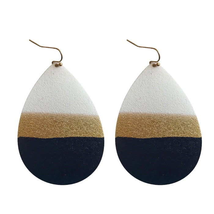 Painted Tear Drop Earrings - White