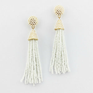"""NYC Dreams"" Beaded Tassel Earrings - White"