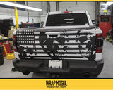 Tattered Flag and Skull Tailgate Decal Kit