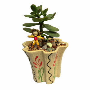 Attractive Jade Plant in Small Floral Pot